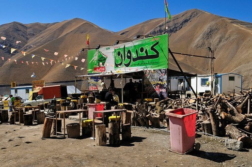 Snack bar or takeaway in the Alborz Mountains, Iran, Persia, Asia : Stock Photo