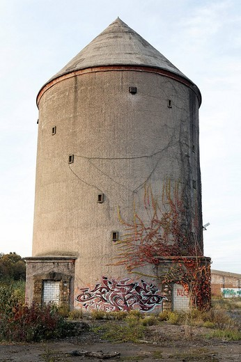Stock Photo: 1848-43518 Hochbunk high_rise bunker from World War II, former Ausbesserungswerk repair shop of German Railways, closed in 2003, Duisburg_Wedau, North Rhine_Westphalia, Germany, Europe