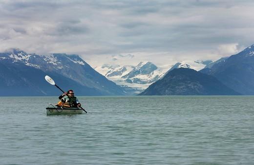 Stock Photo: 1848-435340 Kayaking on the Tarr Inlet, kayaking trip over several days in Glacier Bay National Park, Alaska, USA
