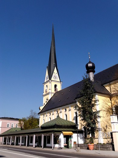 Parish church of Prien, Upper Bavaria, Germany, Europe : Stock Photo