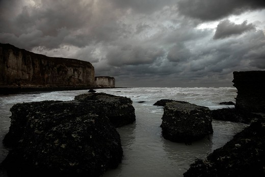 Overlooking the sea below the cliffs of Yport, cloud_covered sky, rough sea, Alabaster Coast, Normandy, France, Europe : Stock Photo