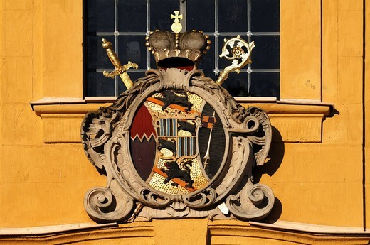 Coat of arms of the Bamberg Prince_Bishop Adam Friedrich von Seinsheim on the Kunigundenkirche church, Franz_Wittmanngasse, Pottenstein, Upper Franconia, Bavaria, Germany, EuropeGermany, Europe : Stock Photo