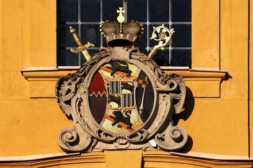 Stock Photo: 1848-435390 Coat of arms of the Bamberg Prince_Bishop Adam Friedrich von Seinsheim on the Kunigundenkirche church, Franz_Wittmanngasse, Pottenstein, Upper Franconia, Bavaria, Germany, EuropeGermany, Europe