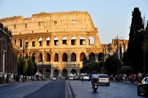 Stock Photo: 1848-435396 Colosseum, Via dei Fori Imperiali, Rome, Lazio, Italy, Europe
