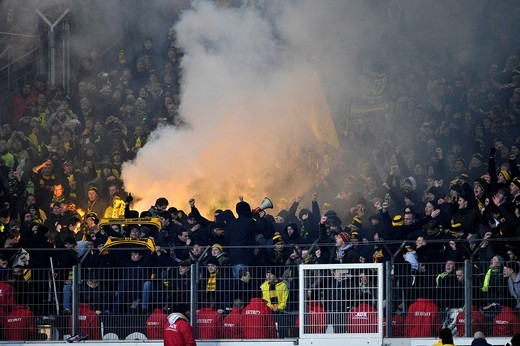 Bengal fire, smoke bombs, riots, chaos, Mercedes_Benz Arena stadion, Stuttgart, Baden_Wuerttemberg, Germany, Europe : Stock Photo