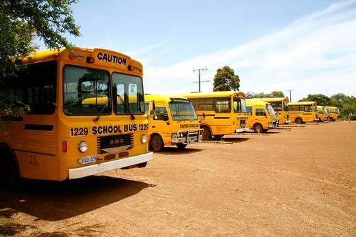 School buses on Kangaroo_Island, South Australia, Australia : Stock Photo