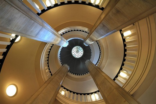 Stock Photo: 1848-435783 Staircase with dome as seen the bottom, Schweriner Schloss castle, built from 1845 to 1857, romantic historicism, Lennéstrasse 1, Schwerin, Mecklenburg_Western Pomerania, Germany, Europe