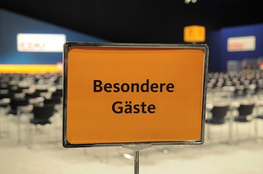 Stock Photo: 1848-436179 Sign Besondere Gaeste, special guests, 22th party convention of the CDU, Stuttgart, Baden_Wuerttemberg, Germany, Europe