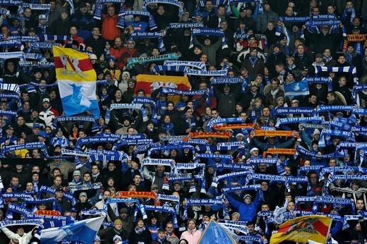 Fan section TSG 1899 Hoffenheim football club, Sinsheim, Germany, Rhein_Neckar_Arena stadium, Baden_Wuerttemberg, Germany, Europe : Stock Photo
