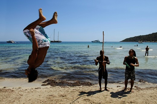 Performers, Cala de Ses Salines, Ibiza, Pine Islands, Balearic Islands, Spain, Europe : Stock Photo
