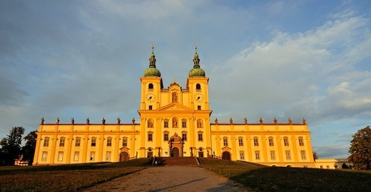 Panoramic view of frontal facade of the baroque Basilica Minor, Church of Visitation of Virgin Mary, at Svaty Kopecek near Olomouc, Czech Republic, Europe : Stock Photo