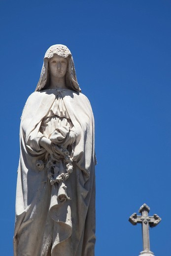Stock Photo: 1848-437073 Statue at La Recoleta Cemetery, Barrio Norte, Buenos Aires, Argentina, South America