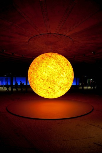Stock Photo: 1848-437358 Sun sculpture, three_dimensional representation of the sun in the exhibition Sternstunden, wonders of the solar system, Gasometer, Oberhausen, Ruhr Area, North Rhine_Westphalia, Germany, Europe
