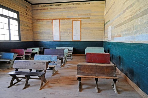 Old school desks, benches, school, Humberstone, salpetre works, abandoned salpetre town, ghost town, desert, museum, UNESCO World Heritage Site, Iquique, Norte Grande region, Northern Chile, Chile, South America : Stock Photo