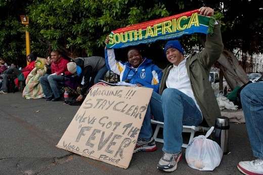 Stock Photo: 1848-437375 Football fans waiting for the ticket office to open to buy tickets for the 2010 FIFA World Cup, Cape Town, South Africa, Africa