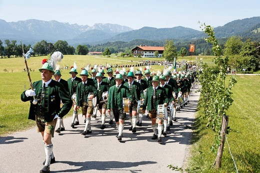 Feast of Corpus Christi procession Wackersberg Upper Bavaria Germany : Stock Photo