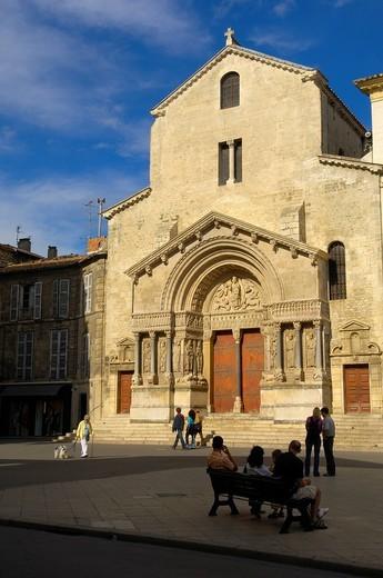 Saint Trophime cathedral at Place de la Republique, Arles, Bouches du Rhone, Provence, France, Europe : Stock Photo