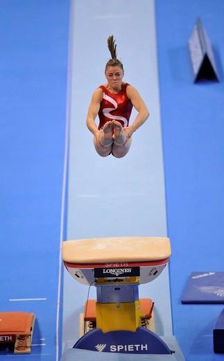 Kristin Klarenbach, Canada, vaulting, EnBW Gymnastics World Cup 2009, Porsche_Arena, Stuttgart, Baden_Wuerttemberg, Germany, Europe : Stock Photo