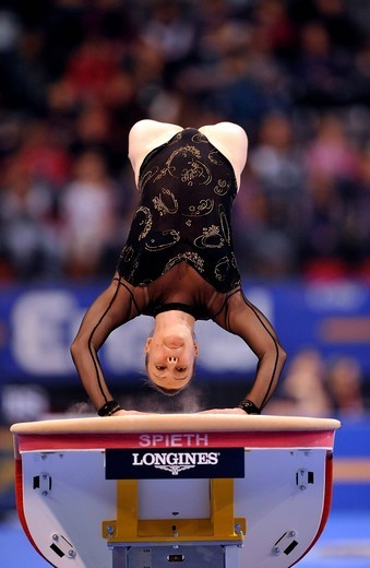 Tijana Tkalcec, Croatia, vaulting, EnBW Gymnastics World Cup 2009, Porsche_Arena, Stuttgart, Baden_Wuerttemberg, Germany, Europe : Stock Photo