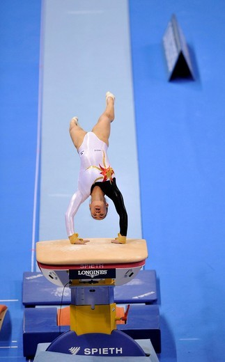 Kim Bui, Germany, vaulting, EnBW Gymnastics World Cup 2009, Porsche_Arena, Stuttgart, Baden_Wuerttemberg, Germany, Europe : Stock Photo
