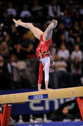 Stock Photo: 1848-437630 Maike Roll, Germany, on the balance beam, EnBW Gymnastics World Cup 2009, Porsche_Arena, Stuttgart, Baden_Wuerttemberg, Germany, Europe