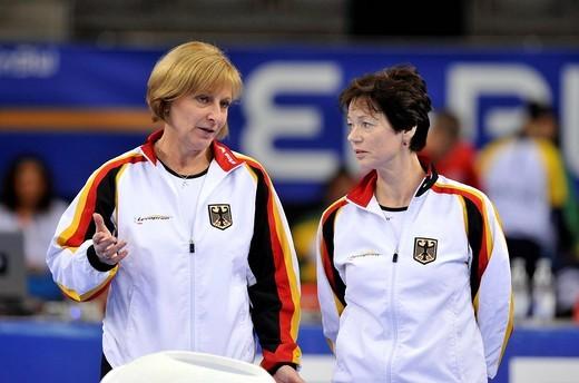 Ulla Koch, left, head coach of the German gymnastics team, and Tamara Khokhlova, right, coach of Kim Bui, Germany, EnBW Gymnastics World Cup 2009, Porsche_Arena, Stuttgart, Baden_Wuerttemberg, Germany, Europe : Stock Photo