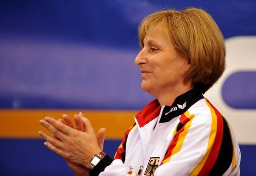 Ulla Koch, head coach of the German gymnastics team, EnBW Gymnastics World Cup 2009, Porsche_Arena, Stuttgart, Baden_Wuerttemberg, Germany, Europe : Stock Photo