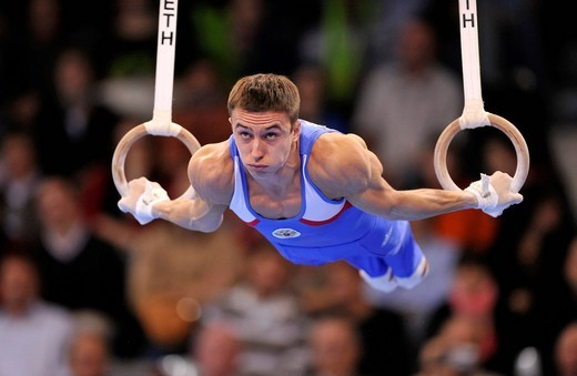 Maxim Deviatovski, Russia, on the rings, EnBW Gymnastics World Cup 2009, Porsche_Arena, Stuttgart, Baden_Wuerttemberg, Germany, Europe : Stock Photo