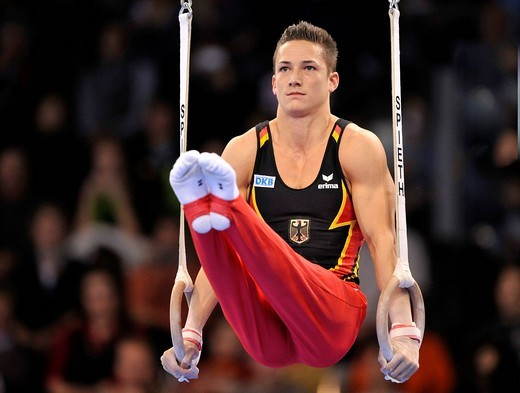 Stock Photo: 1848-437787 Marcel Nguyen, GER, on the rings, EnBW Gymnastics World Cup 2009, Porsche_Arena stadium, Stuttgart, Baden_Wuerttemberg, Germany, Europe