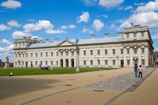 Queen Anne Court, Old Royal Naval College, Greenwich, London, England, United Kingdom, Europe : Stock Photo