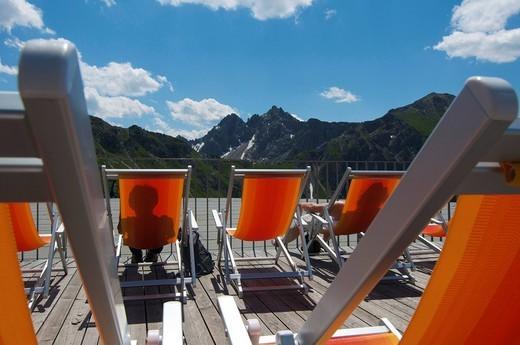 Stock Photo: 1848-437953 Deckchairs on Kanzelwand Mountain, Kleinwalsertal, Little Walser Valley, Allgaeu, Vorarlberg, Austria, Europe