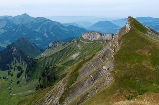 Stock Photo: 1848-437967 View from Mt. Hoher Ifen into the Grammla valley, Vorarlberg, Austria, Europe