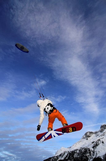 Snowkiting, Lake Silvaplana, St. Moritz, canton of Grisons, Switzerland, Europe : Stock Photo