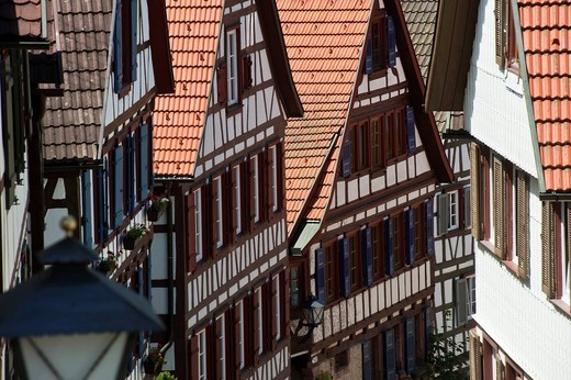 Half_timbered houses in the Staedtle town center, Schiltach, Black Forest, Baden_Wuerttemberg, Germany, Europe : Stock Photo