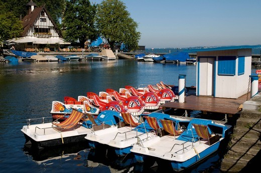 Stock Photo: 1848-438169 Boat rental and tavern on Lake Constance, Bregenz, Lake Constance, Vorarlberg, Austria, Europe