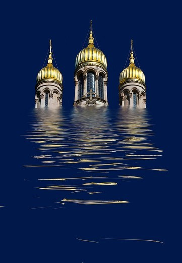 The Russian Church, Greek Chapel, on the Neroberg hill, Wiesbaden, Hesse, Germany, Europe, photomontage with flood : Stock Photo