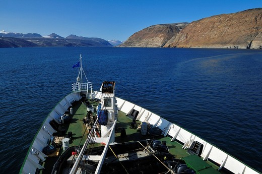 Stock Photo: 1848-438881 Cruise North Cruiseship Lyubov Orlova entering Sunshine Fjord, Baffin Island, Nunavut, Canada, Arctic
