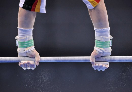 Detail, gymnast with hand protection for the high bar and uneven bars, EnBW Gymnastics World Cup 2009, Porsche_Arena Stuttgart, Baden_Wuerttemberg, Germany, Europe : Stock Photo