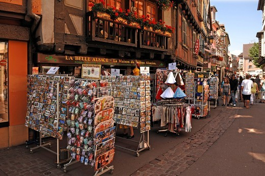 Pedestrian zone with souvenir shops, Colmar, Alsace, France, Europe : Stock Photo