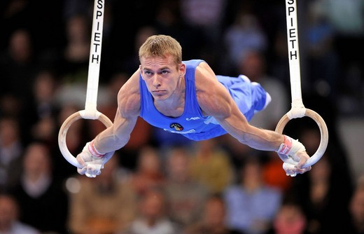 Flavius Koczi, Romania, on the rings, EnBW Gymnastics World Cup 2009, Porsche_Arena, Stuttgart, Baden_Wuerttemberg, Germany, Europe : Stock Photo