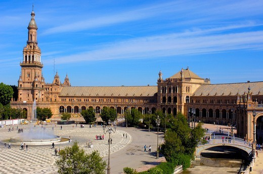 Plaza de España in María Luisa Park, Seville, Andalusia, Spain, Europe : Stock Photo