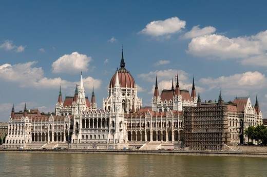 Parliament on the banks of the Danube river, Budapest, Hungary, Europe : Stock Photo