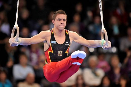 Thomas Taranu, GER, on the rings, EnBW Gymnastics World Cup 2009, Porsche_Arena stadium, Stuttgart, Baden_Wuerttemberg, Germany, Europe : Stock Photo
