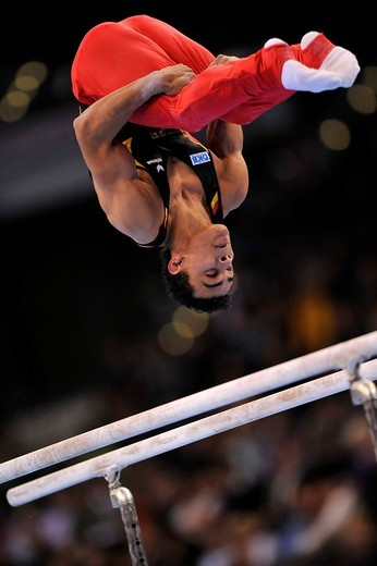 Stock Photo: 1848-439140 Matthias Fahrig, GER, on the parallel bars, EnBW Gymnastics World Cup 2009, Porsche_Arena stadium, Stuttgart, Baden_Wuerttemberg, Germany, Europe