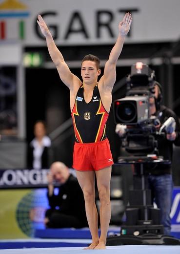 Marcel Nguyen, GER, floor exercises, EnBW Gymnastics World Cup 2009, Porsche_Arena stadium, Stuttgart, Baden_Wuerttemberg, Germany, Europe : Stock Photo