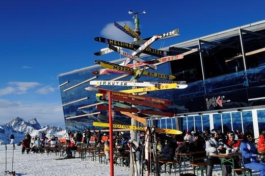 Stock Photo: 1848-439255 Signpost made of old skis with distances to various cities, Pardorama mountain restaurant, Ischgl ski resort, Tyrol, Austria, Europe