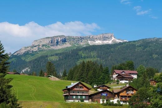View toward the Hohen Ifen Mountains, Kleinwalsertal, Little Walser Valley, Allgaeu, Vorarlberg, Austria, Europe : Stock Photo