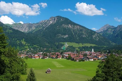 View of Oberstdorf and the Allgaeu Hauptkamm ridge, Allgaeu, Bavaria, Germany, Europe : Stock Photo