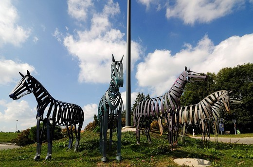 Stock Photo: 1848-439645 Horse monument, Freiberger horses, Saignelegier, Vaude, Switzerland, Europe