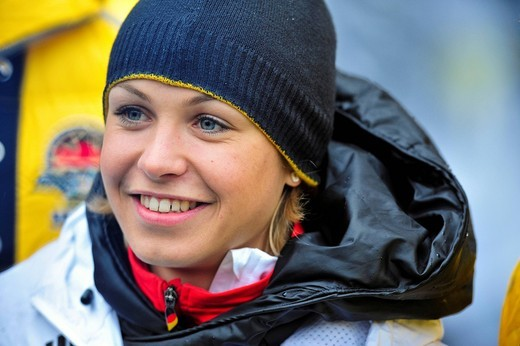 Stock Photo: 1848-439860 Magdalena Neuner, double Olympic gold medalist biathlete, at the reception of the German Olympic participants 2010, Munich, Bavaria, Germany, Europe